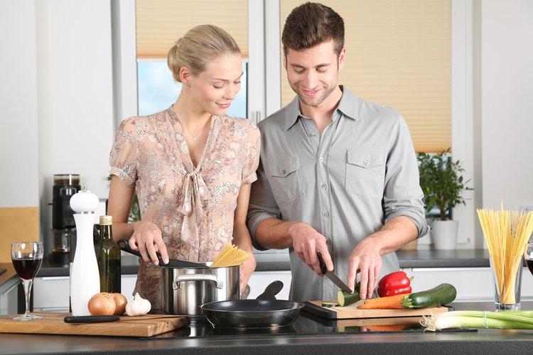couple prepare food together