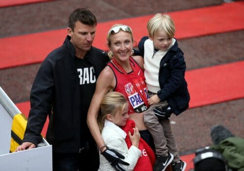 Paula Radcliffe and family after the London Marathon 2015