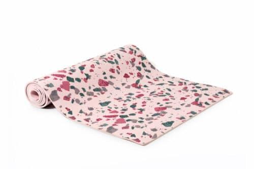 Terrazzo print pink yoga mat