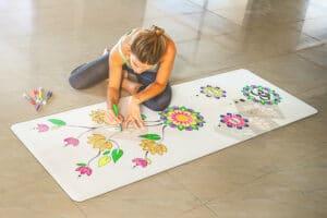 DIYogi White Drawing Yoga Mat
