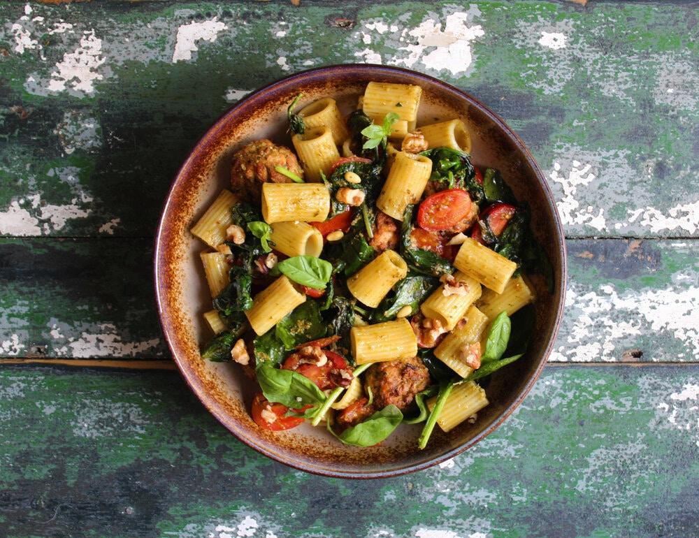 Tasty Italian Pesto Pasta and Gosh! Spinach & Pine Nut Bites Recipe