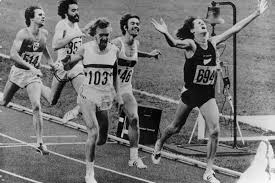 John Walker r of New Zealand winning the 1976 Olympic 1500m title