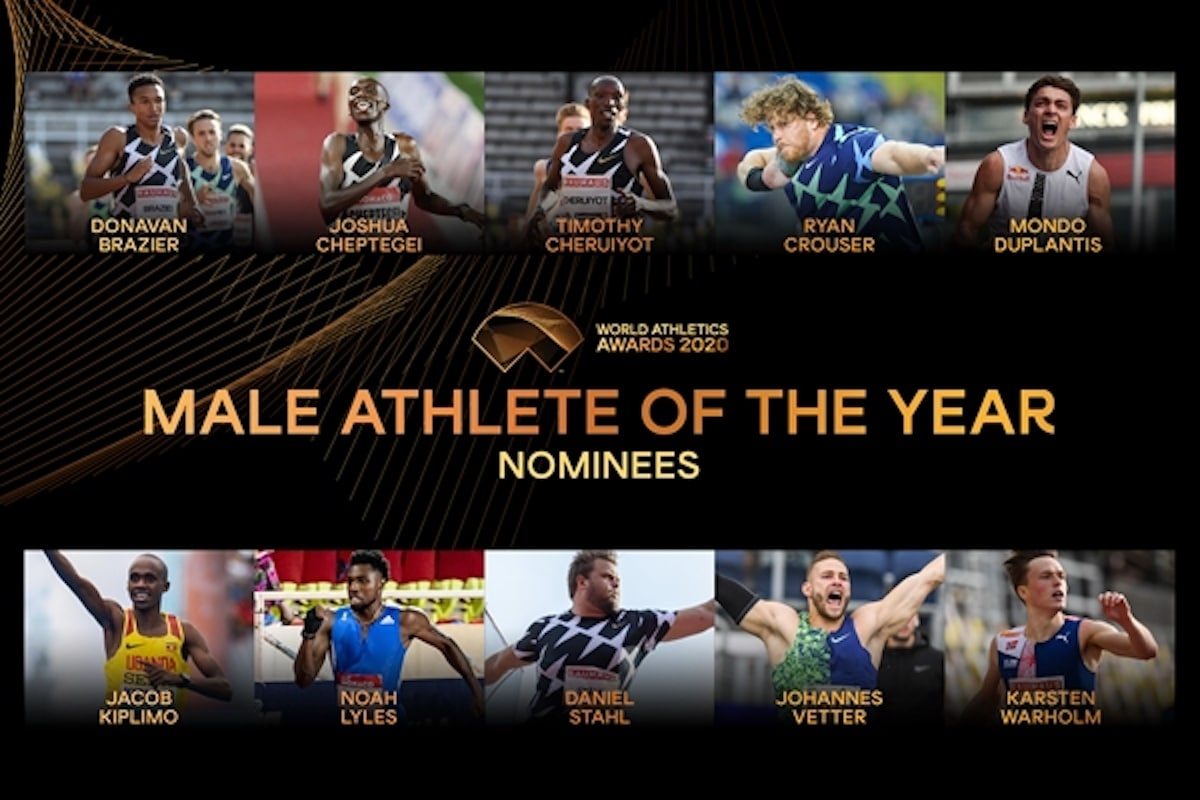 Who has been nominated for Male World Athlete of the Year 2020