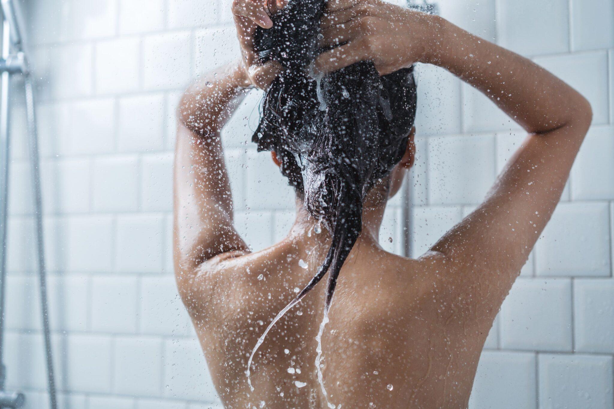 woman showers