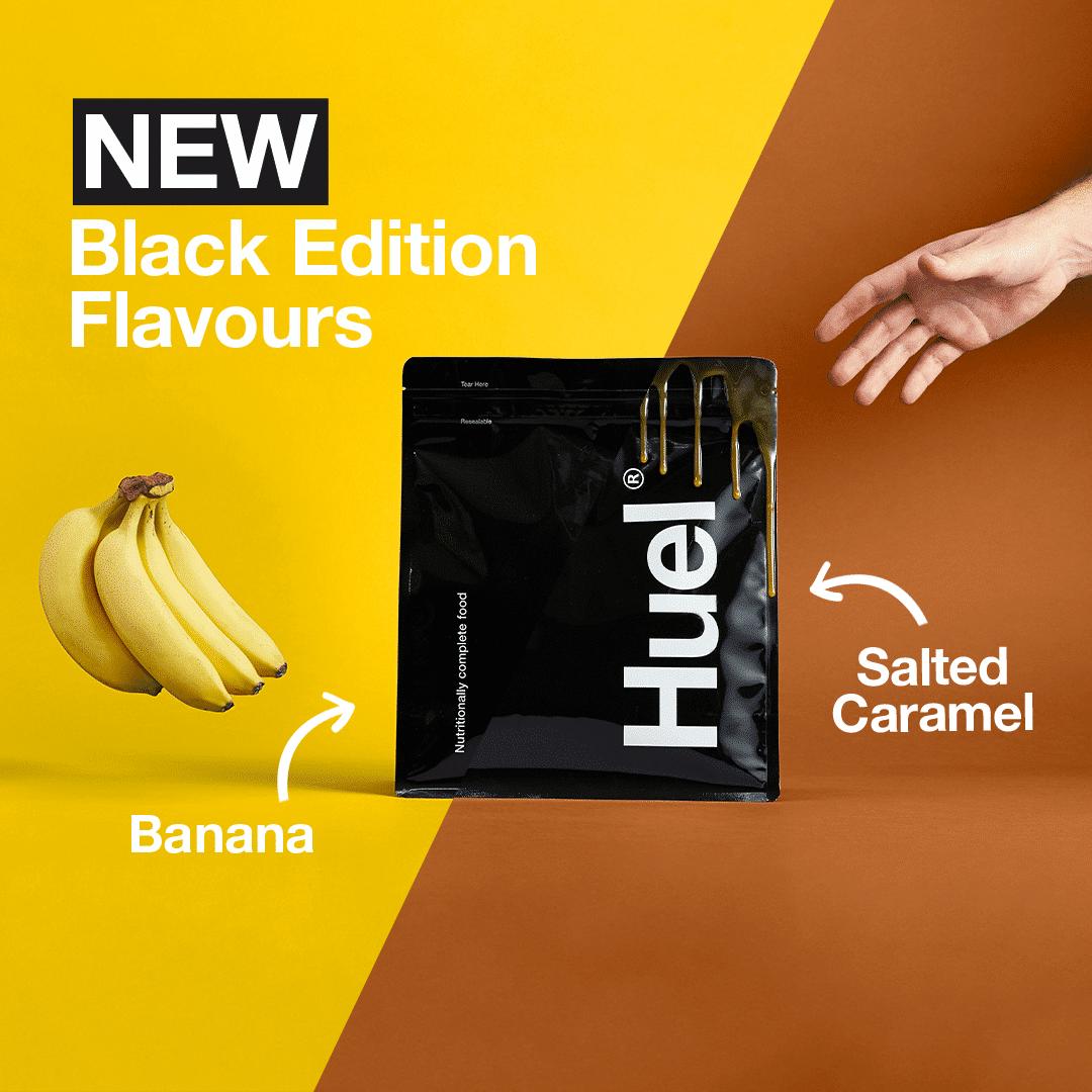 Huel Salted Caramel and Banana Flavour Black Edition