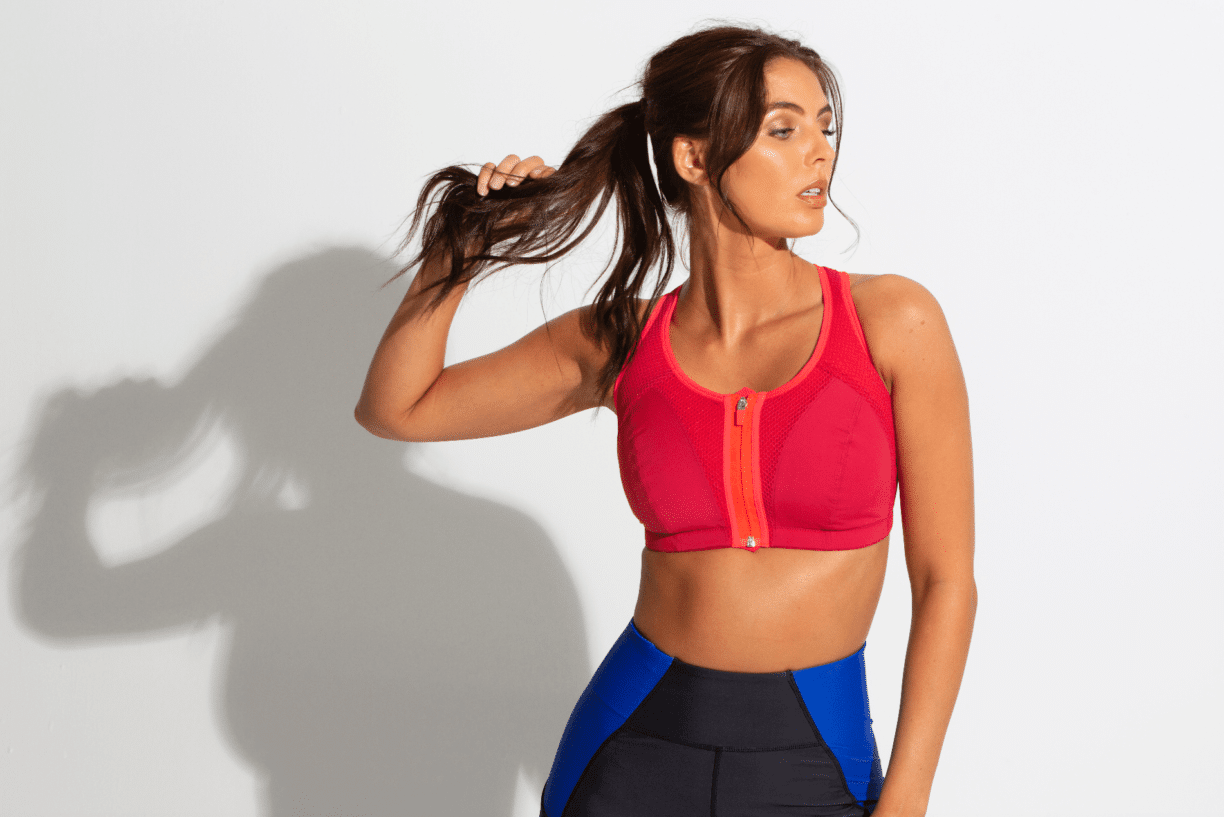 pour moi model in red vest top