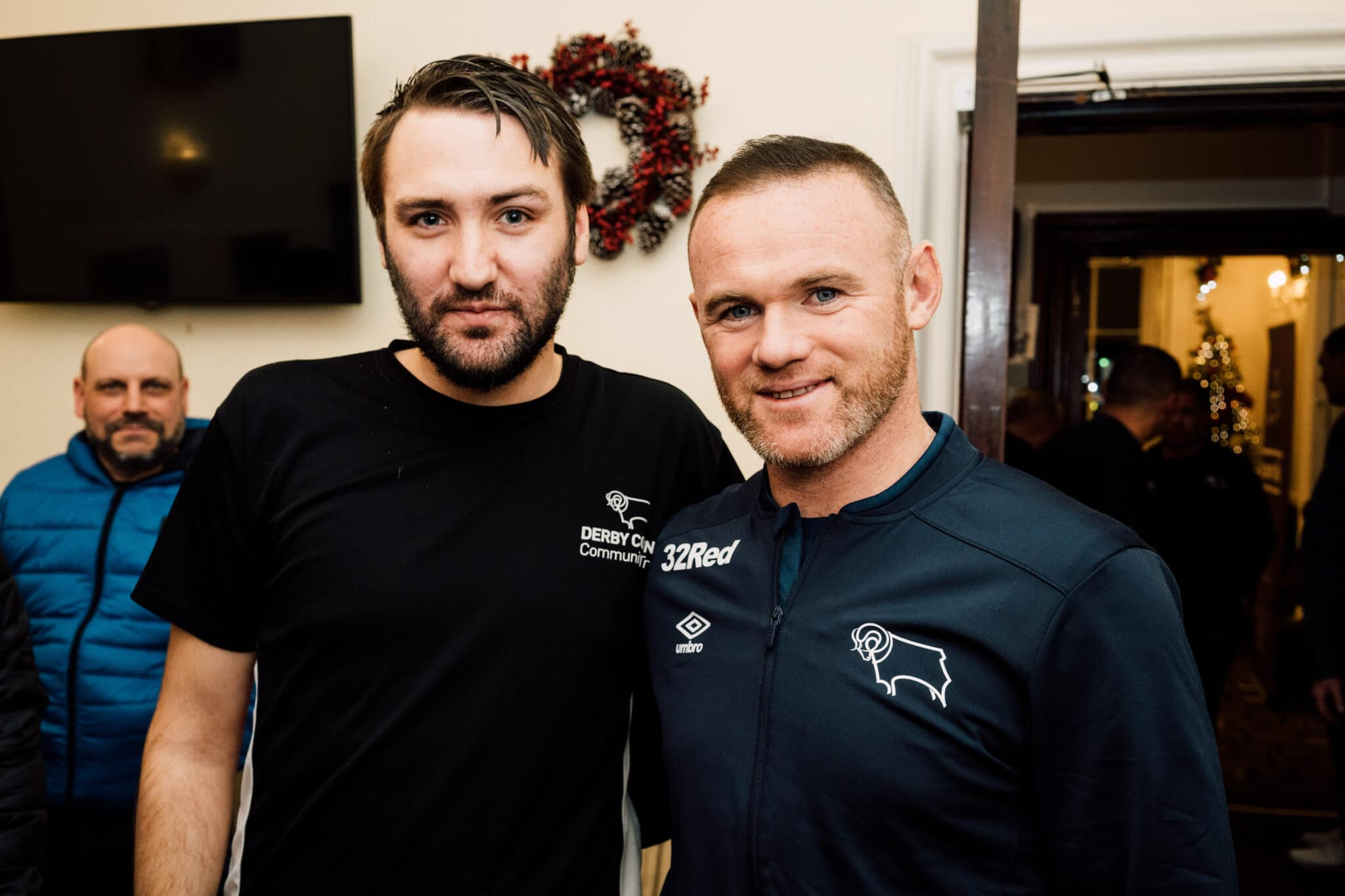 Harley with Derby County's Wayne Rooney on a visit (pre-Covid) to Team Talk