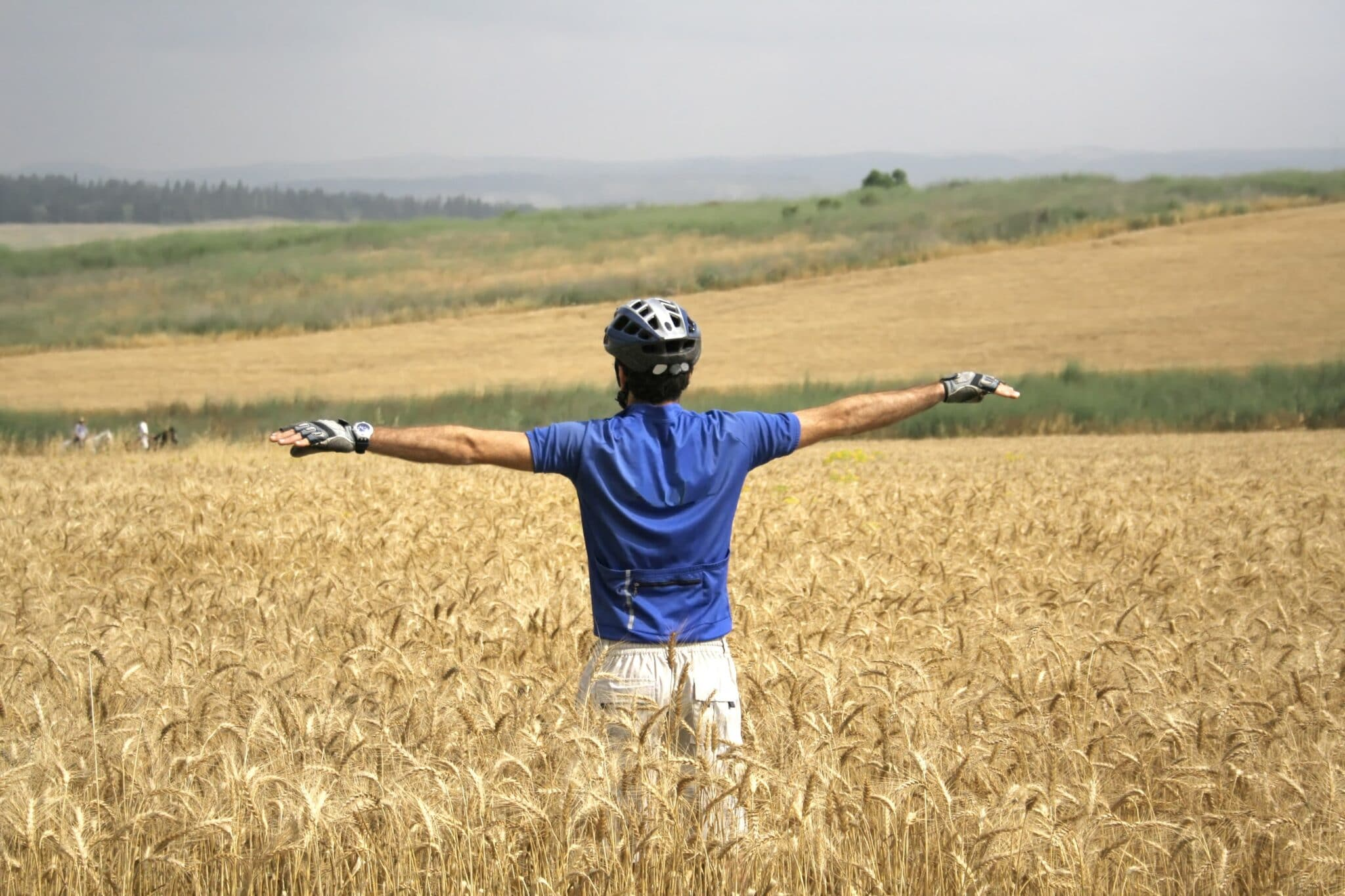 cyclist in field of hay