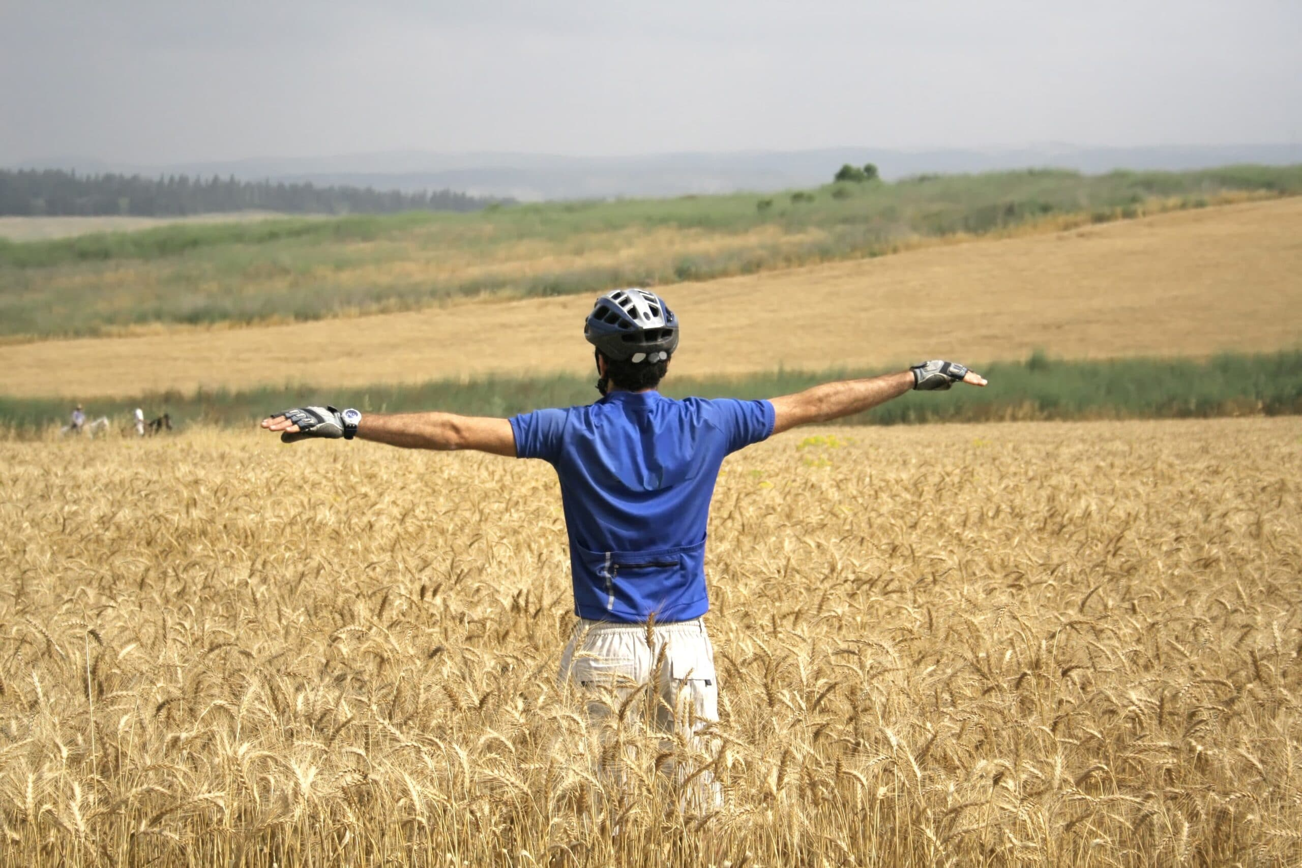 cyclist in field of hay scaled