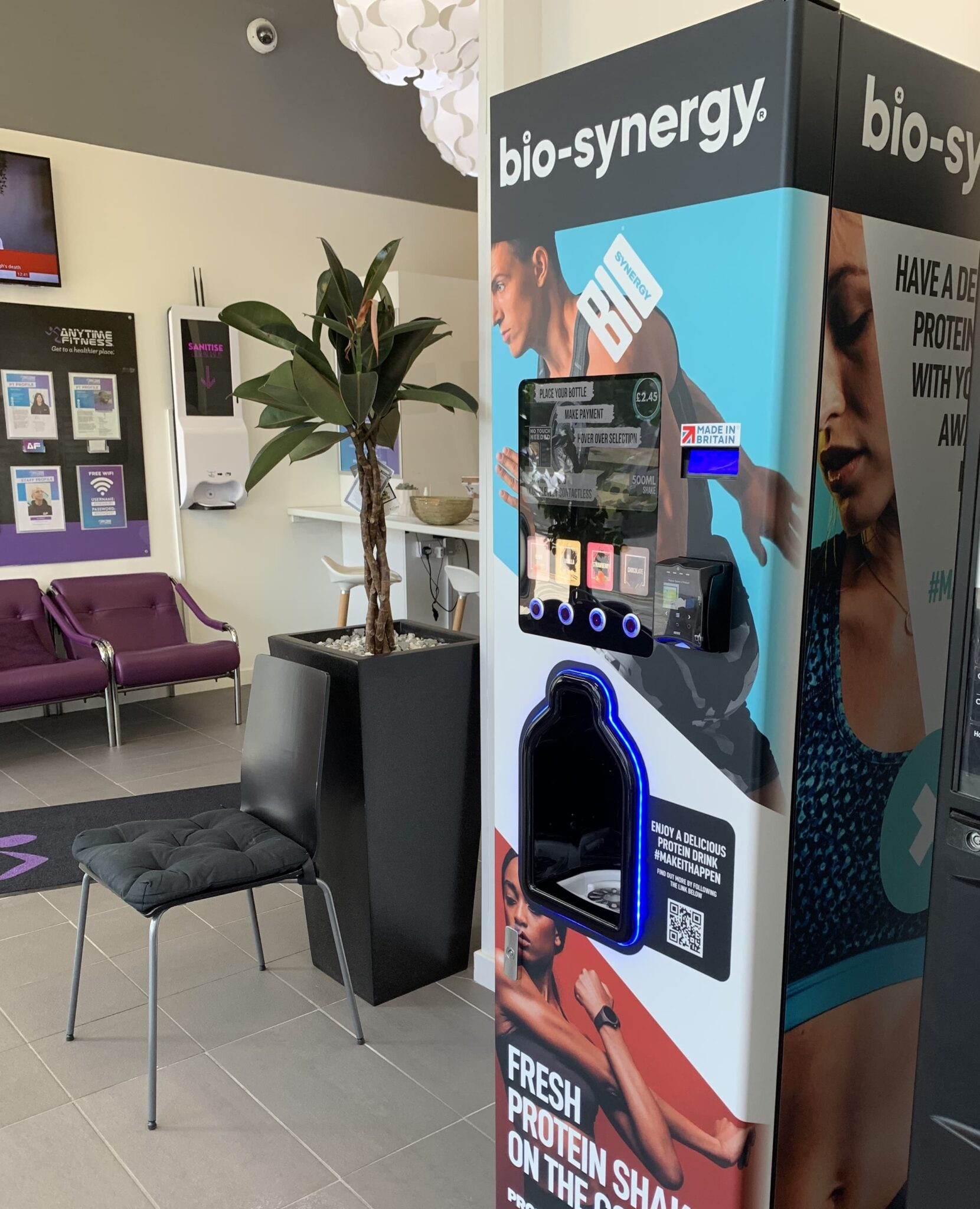 Bio-Synergy Protein Shake Vending Machines at Anytime Fitness Gyms