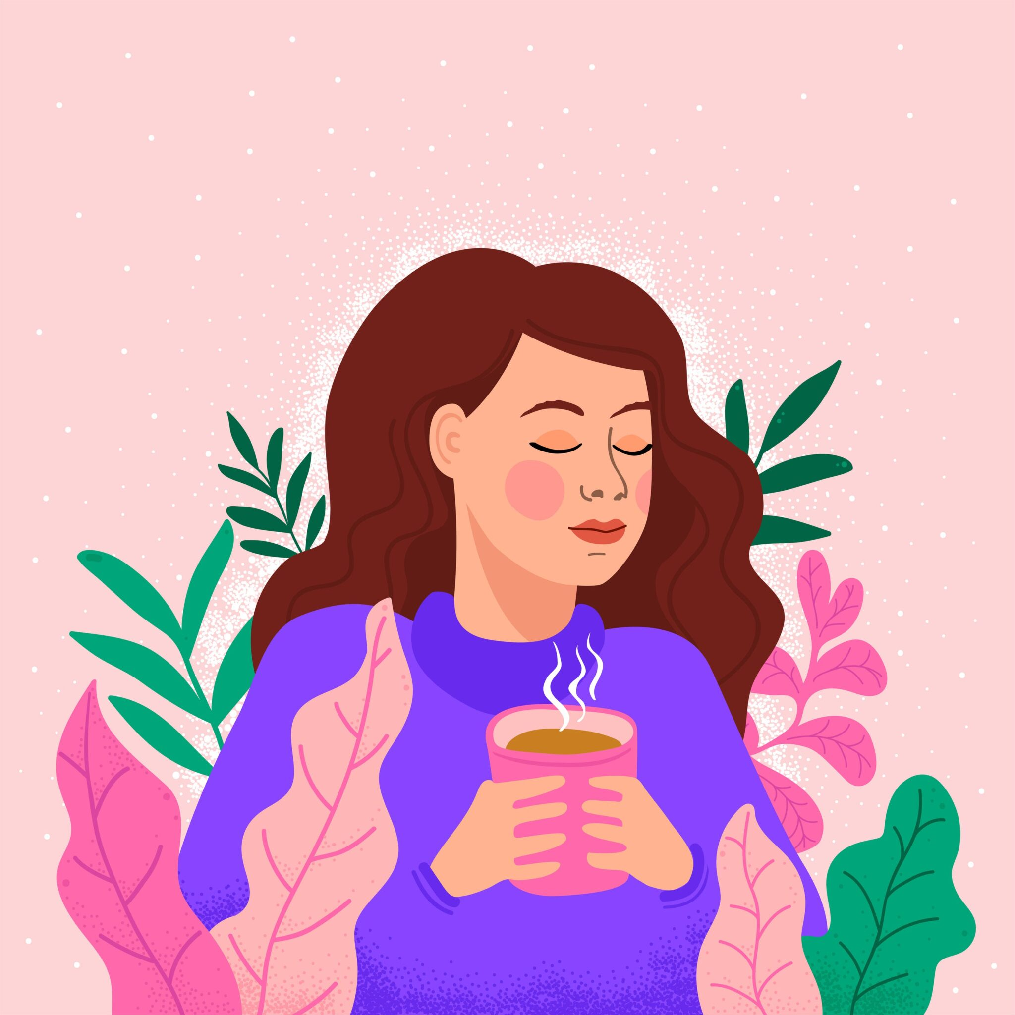 woman holding coffee graphic