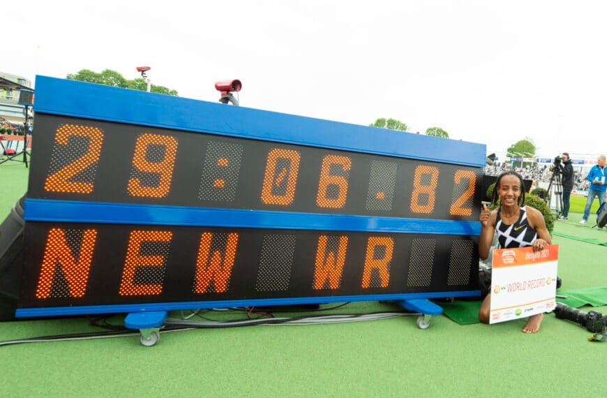 Sifan Hassan Celebrates Her World 10,000m Record In Hengelo