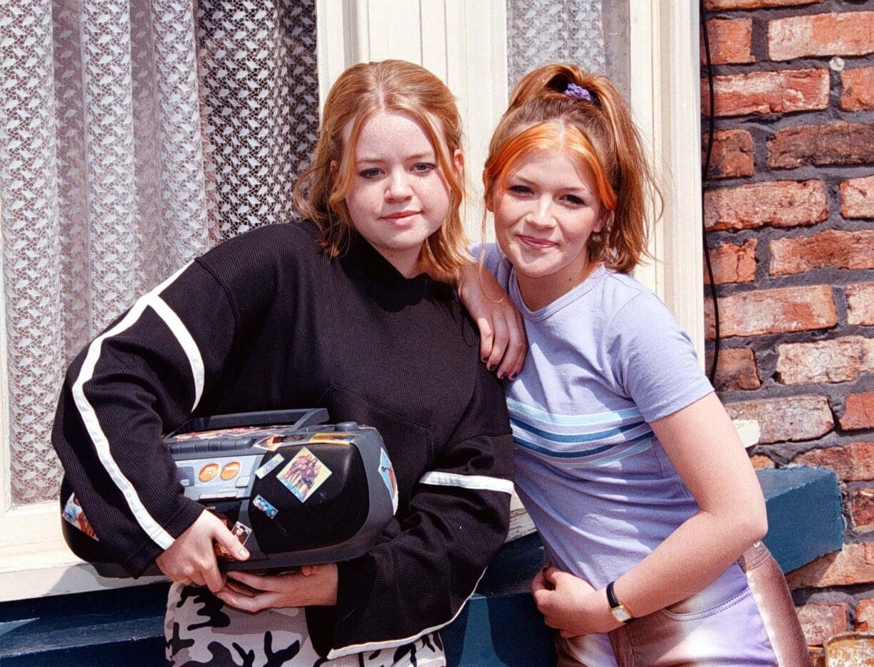 a young georgia taylor on the set of coronation street