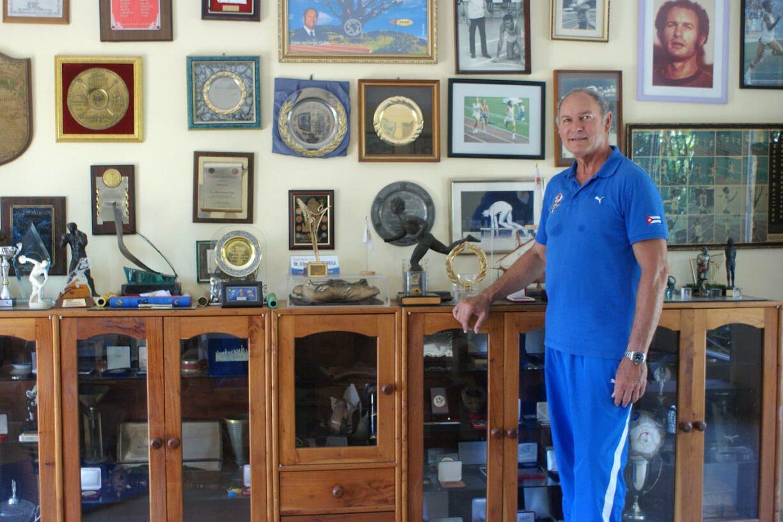 Alberto Juantorena at home with his trophies Mark Craig 2018