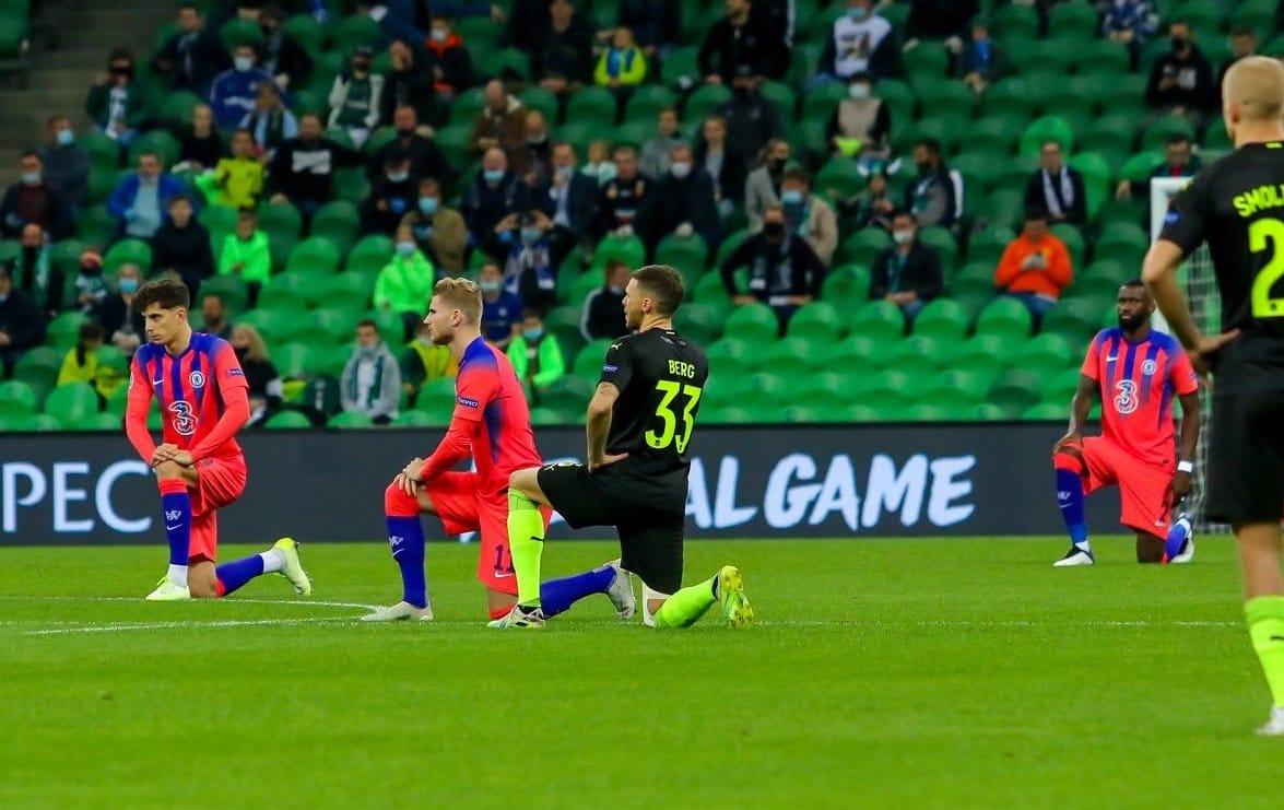 FC Krasnodar Chelsea players take the knee