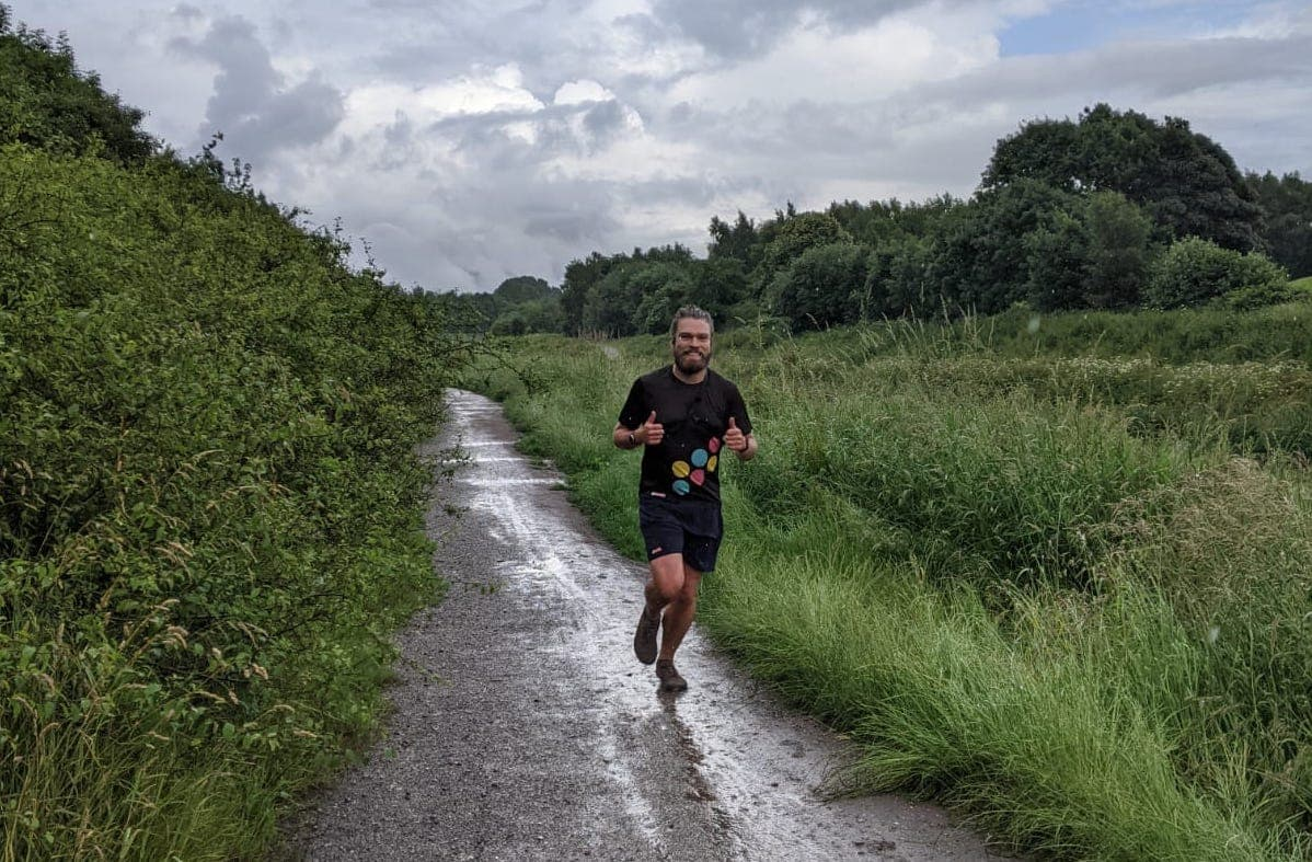 Alan Day out on a run in the countryside gearing up for the Virtual London Marathon