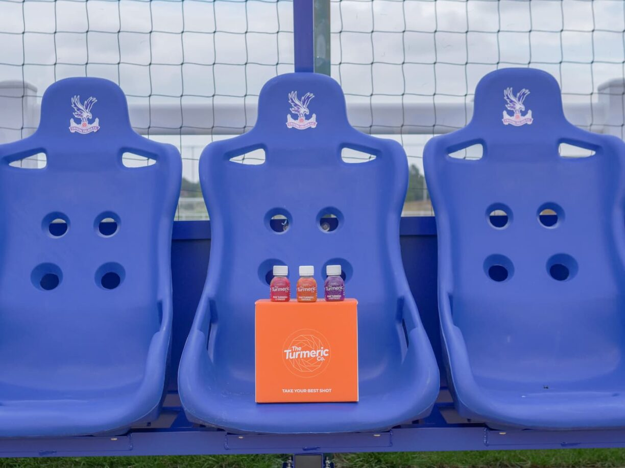 turmeric co on crystal palace fc dugout seats